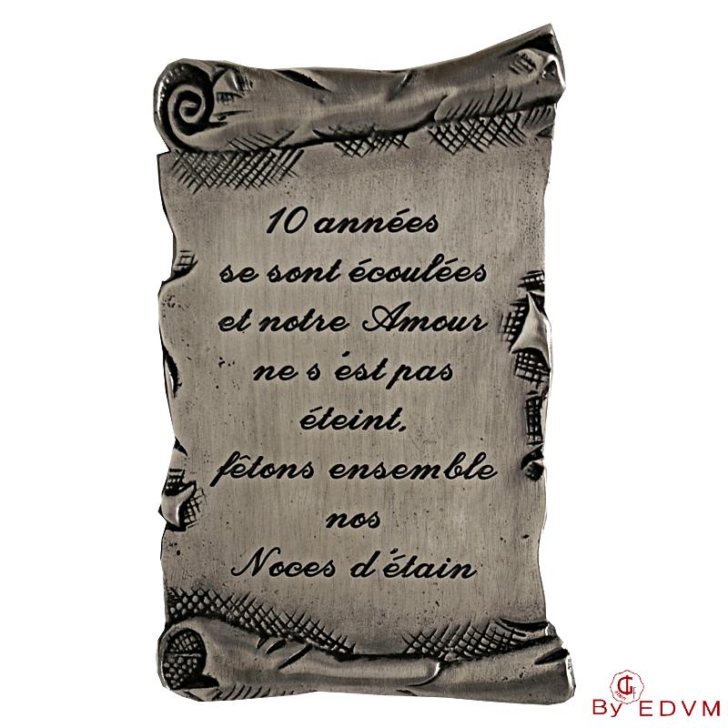 Pewter Parchment With Pretty Text Big Etain Des Vieux