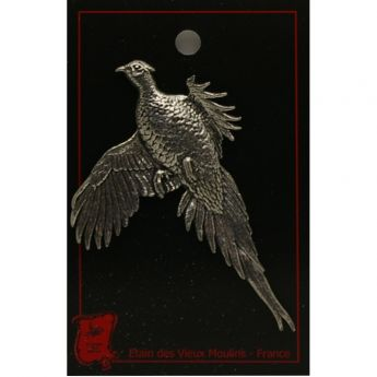 Quality Pewter Hunting Flying Woodcock Brooch Pin